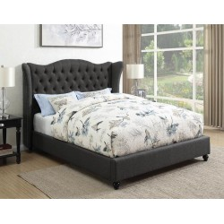 QUEEN BED 300740Q CHARCOAL / CAPPUCCINO